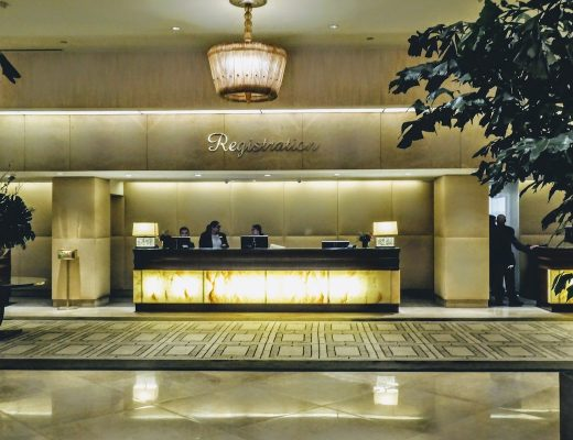 Reception desk at the Beverly Hilton