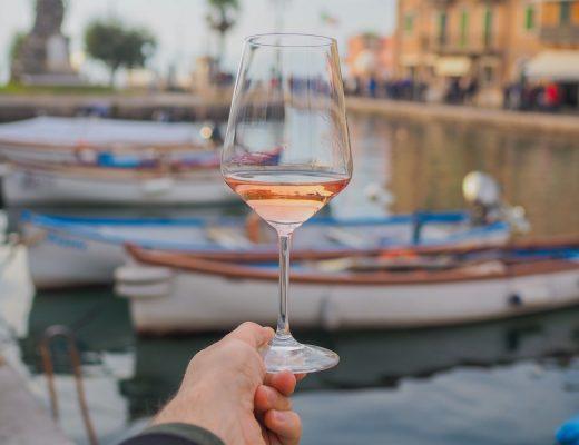 Glass of Pink Chiaretto at Dogana Venetal Lazise in Veneto