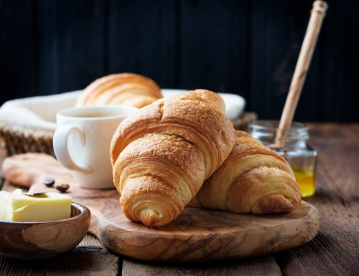 Croissant with French butter and honey