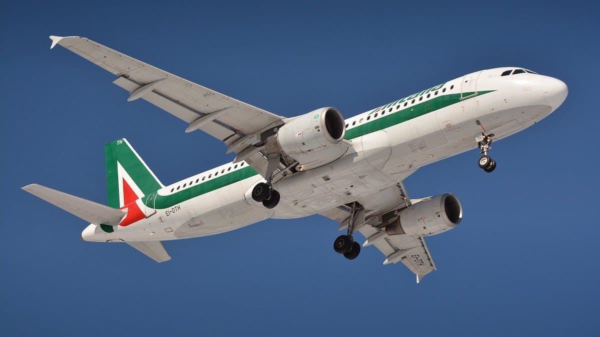Alitalia Airlines plane over Fiumicino